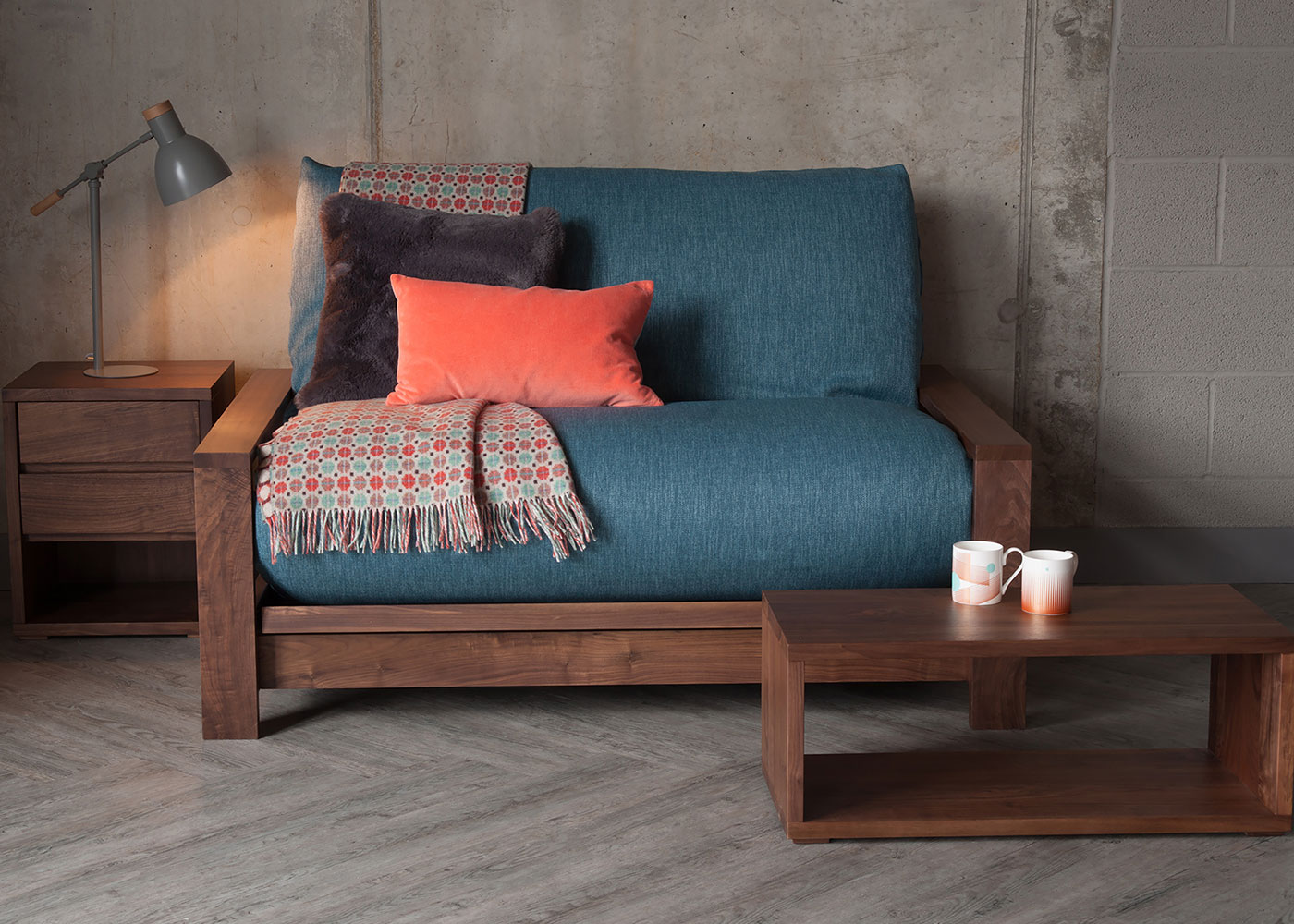 Black Lotus Panama futon sofa bed made from solid walnut