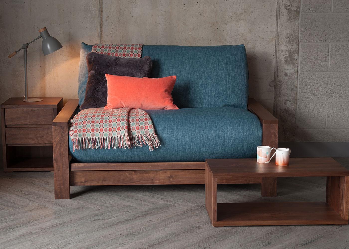 Black Lotus Panama futon sofa bed made from solid walnut
