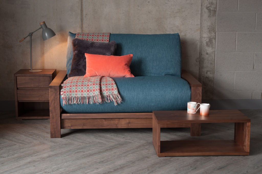 Black Lotus Panama wooden framed futon sofa bed, shown in sofa position