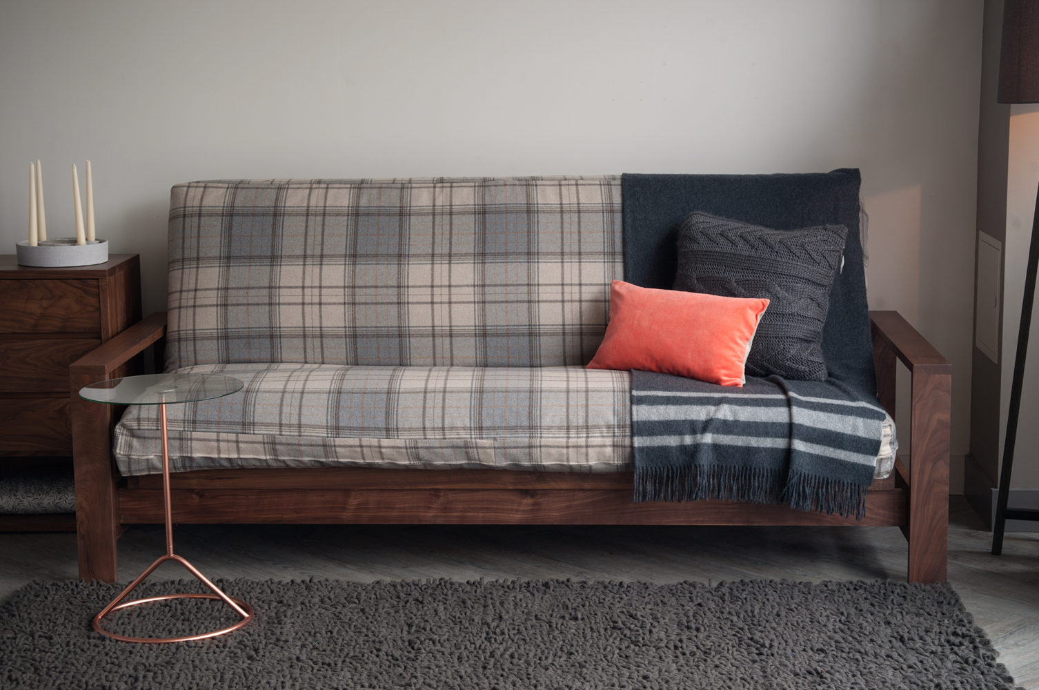 Black Lotus cuba sofa-bed with wool loose cover