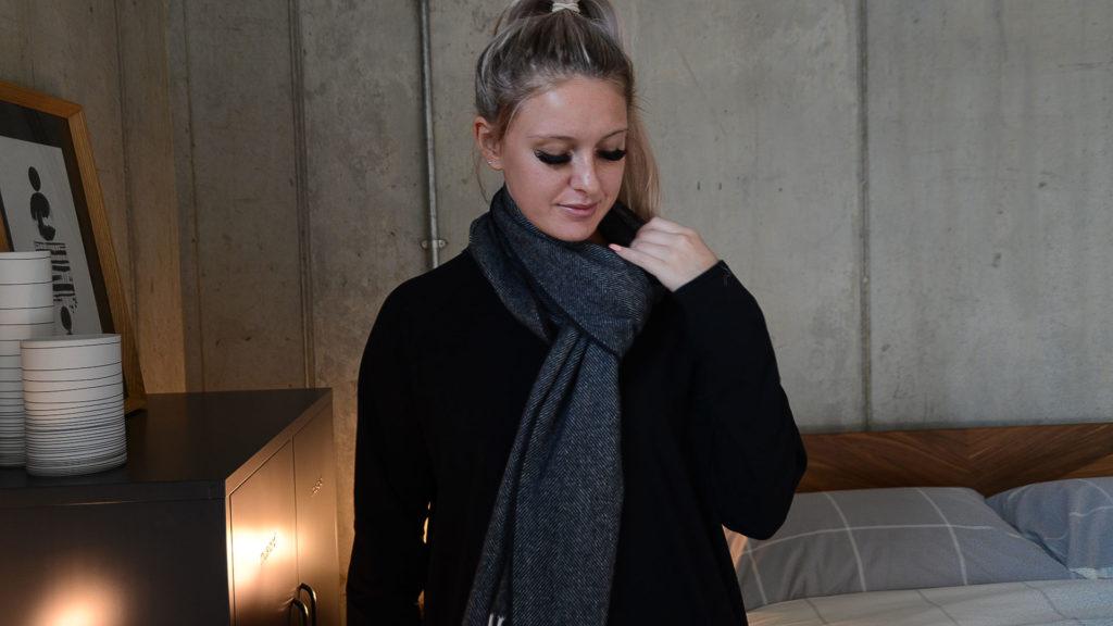 herringbone lambswool merino scarf
