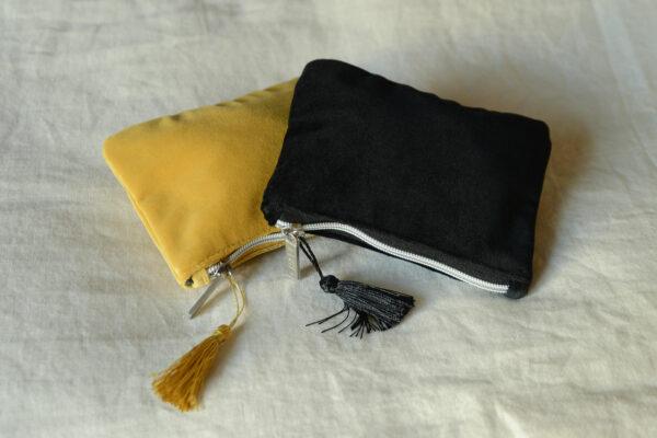 velvet zipped purses in mustard yellow or black