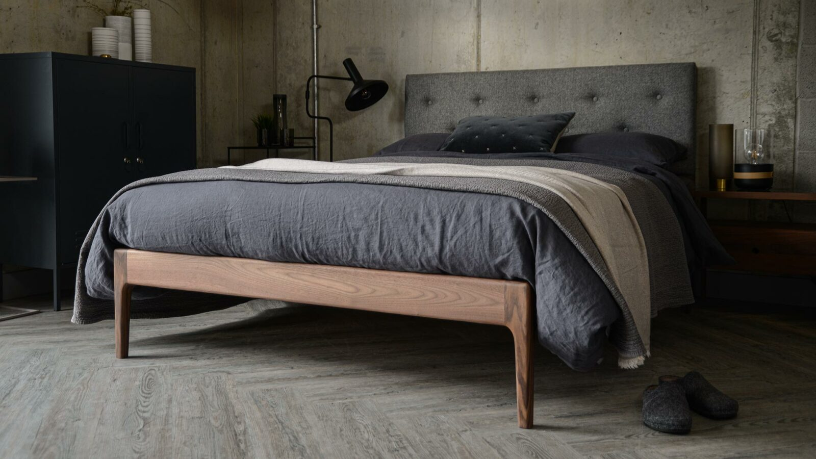 The Bloomsbury a mid-century style solid wooden bed with comfy-cosy upholstered headboard