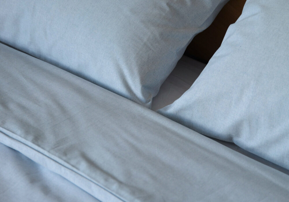 pale blue eco Bedding made from 100% recycled denim fibres