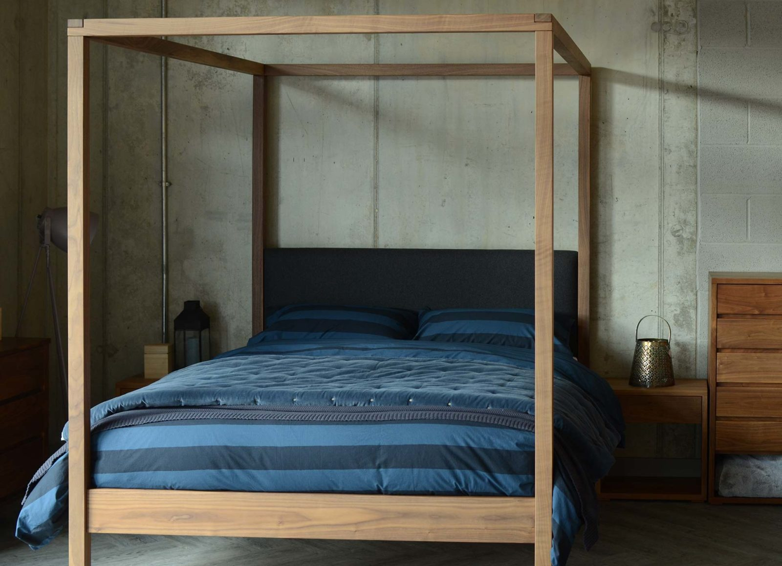 Blue bedding on our solid wood 4 poster bed with upholstered headboard, The Highland