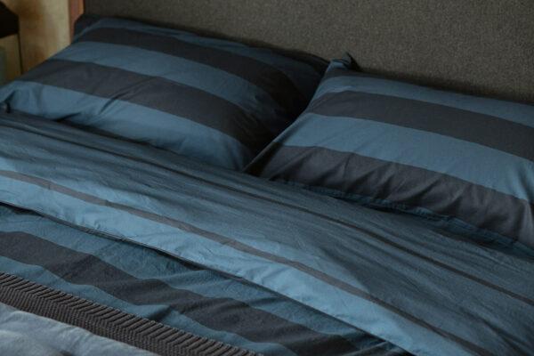 Blue Stripe Duvet Set in pure cotton