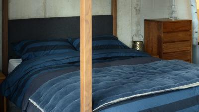 Blue-stripe-duvet-set & velvet quilt