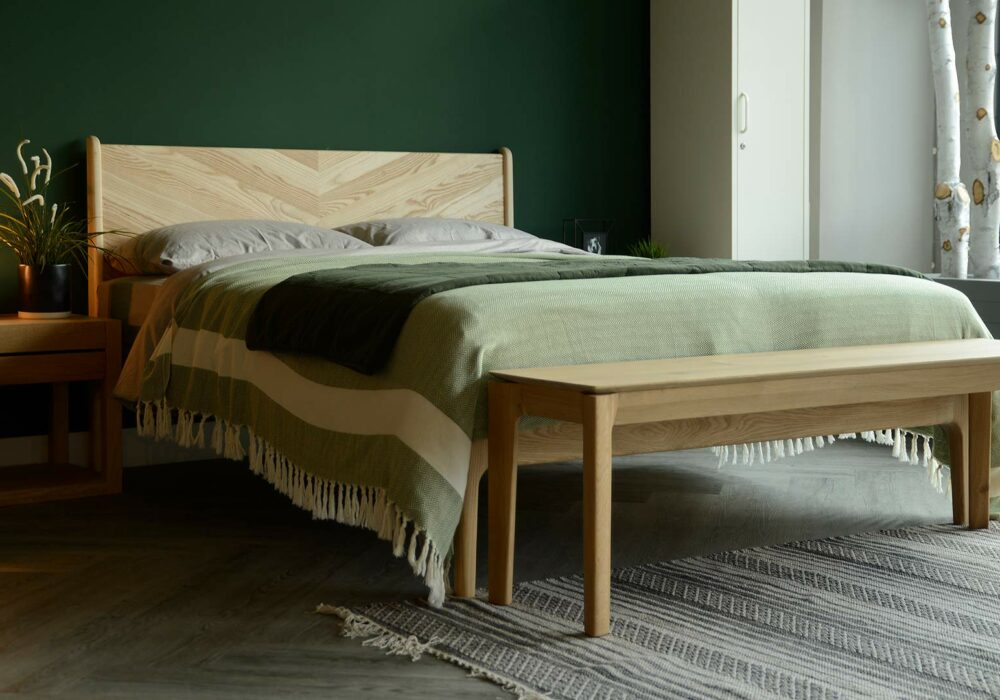 solid oak bench or end of bed table shown with our Hoxton bed
