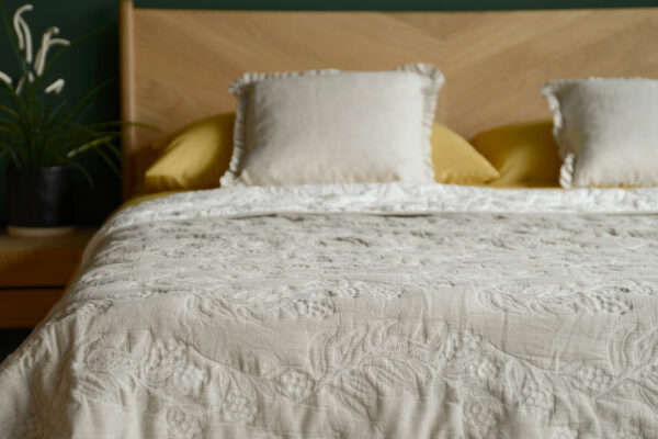 Reversible stitched and quilted bedspread ivory one side beige the other