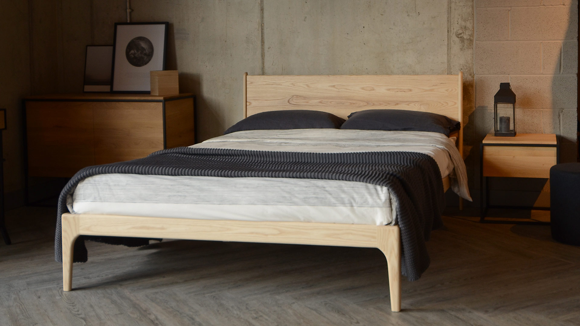 Contemporary solid wood Camden bed here in pale Ash wood