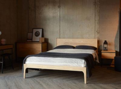 Scandi look Camden Wooden bed in pale Ash wood