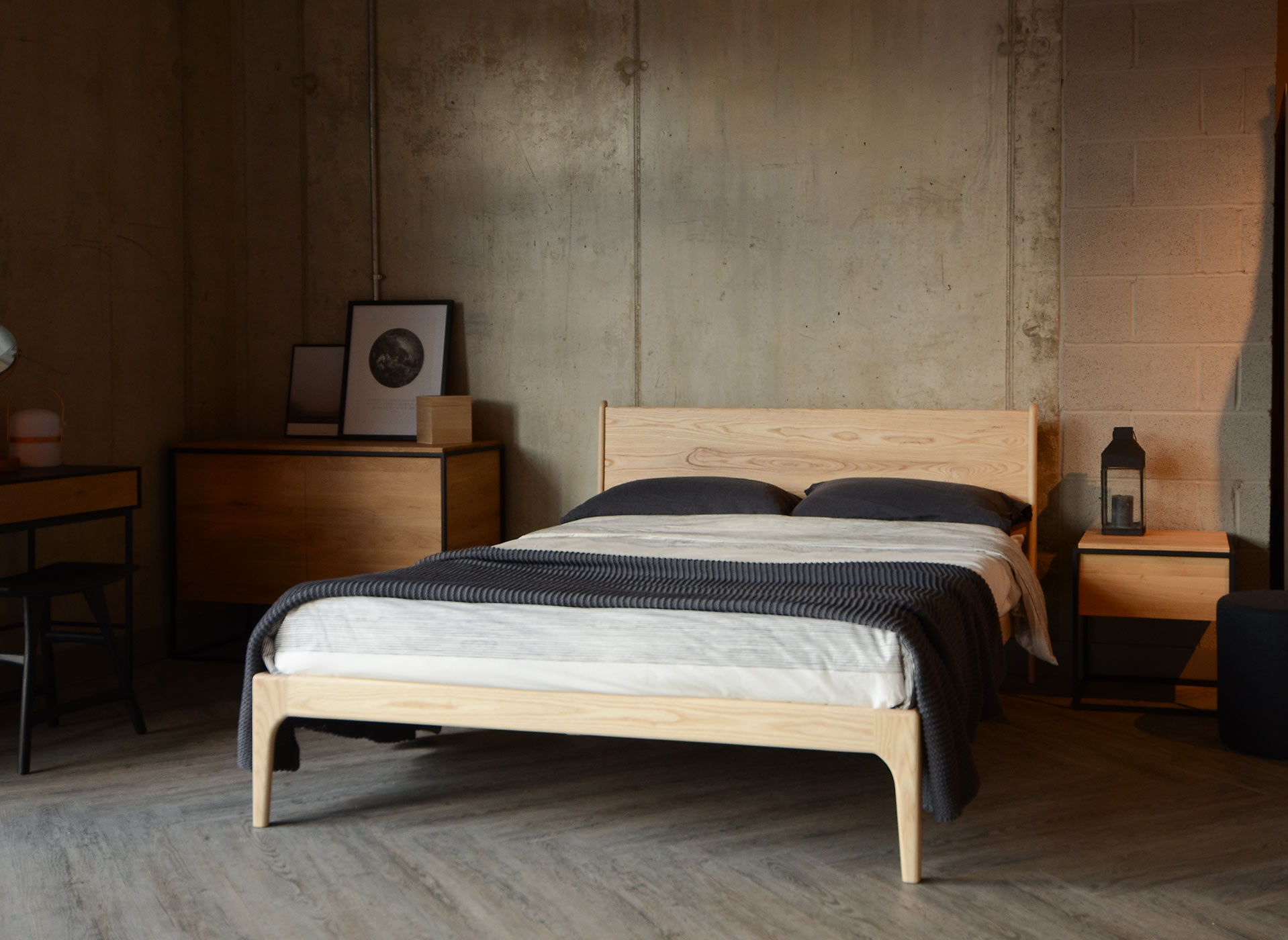 Scandi look Camden Wooden bed in pale Ash wood