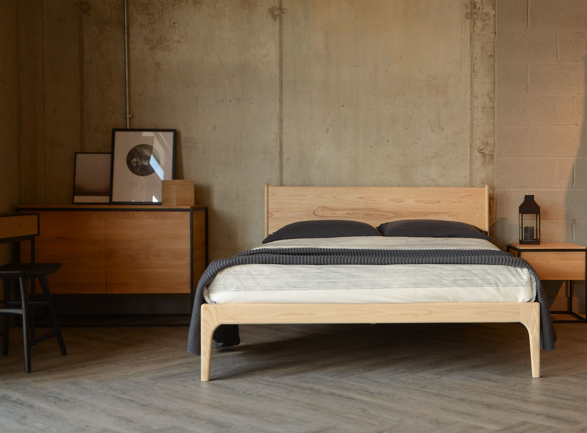 Industrial room setting for our solid wood Camden bed here made from Ash