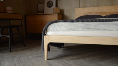 Photo showing the leg of our solid Ash wood Camden bed