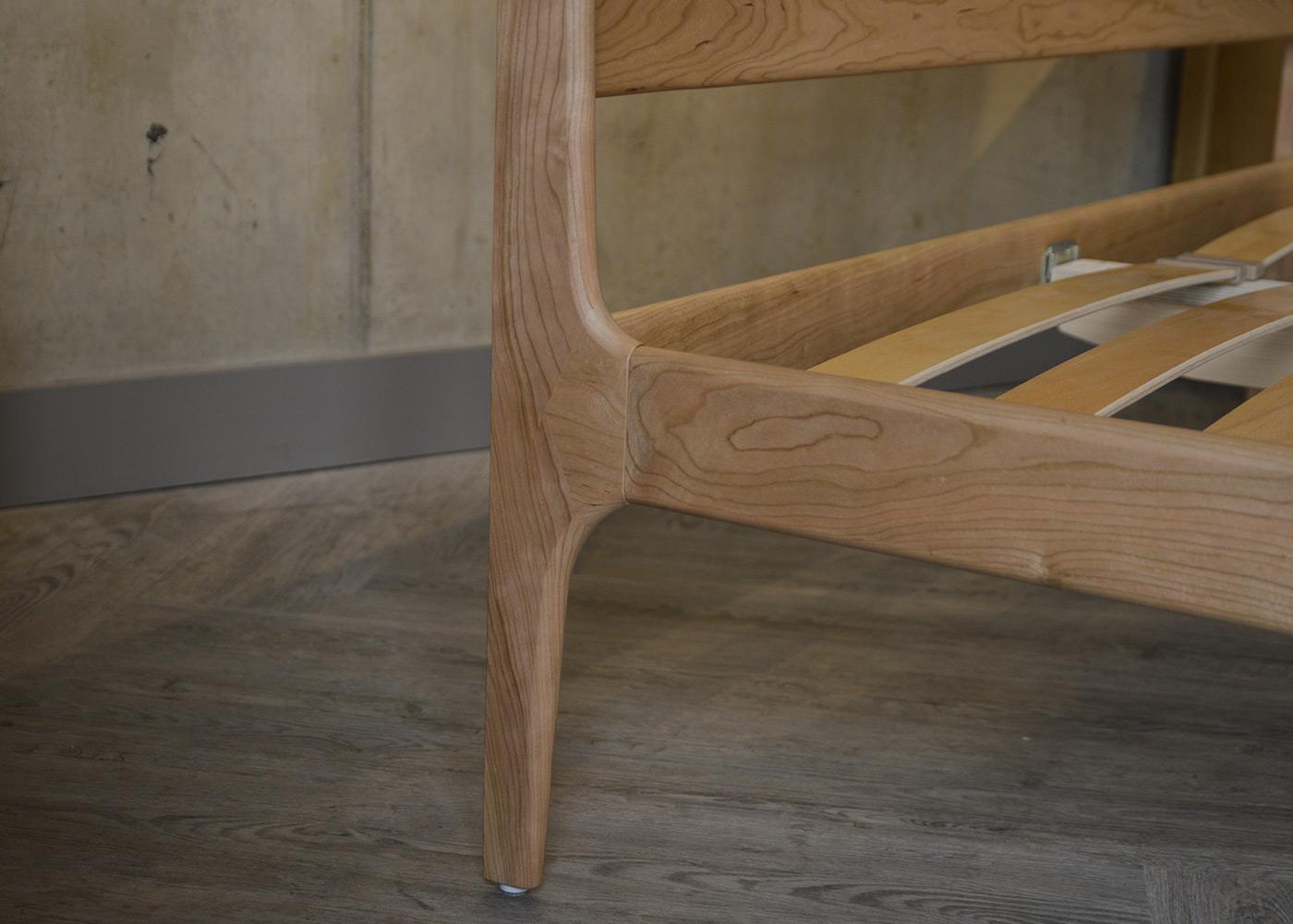 The Camden mid-century style wooden bed - headboard leg detail
