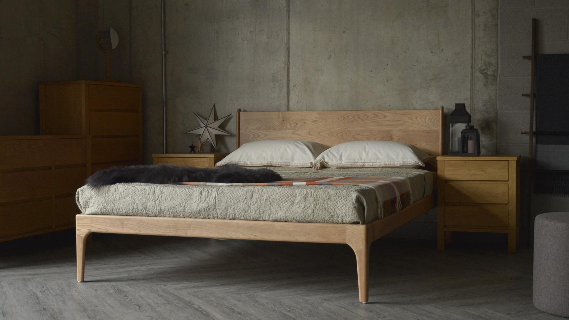 Contemporary Camden bed made from solid Cherry wood