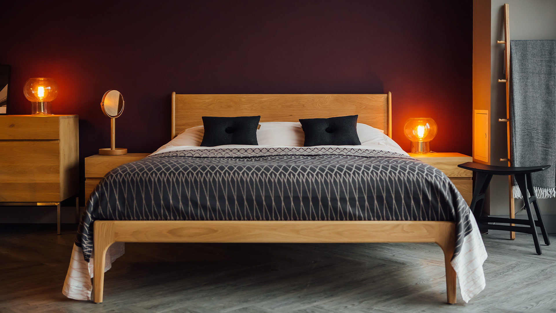 Mid Century style Camden bed in solid oak