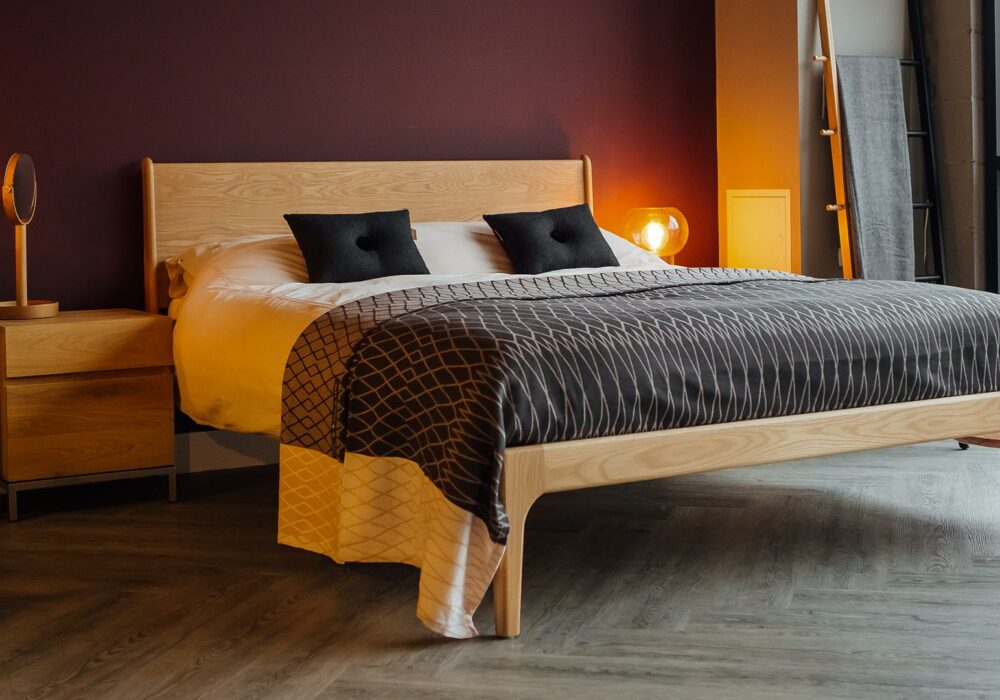 Solid Oak Camden Bed designed and hand-made by Natural Bed Company, with organic cotton bedspread