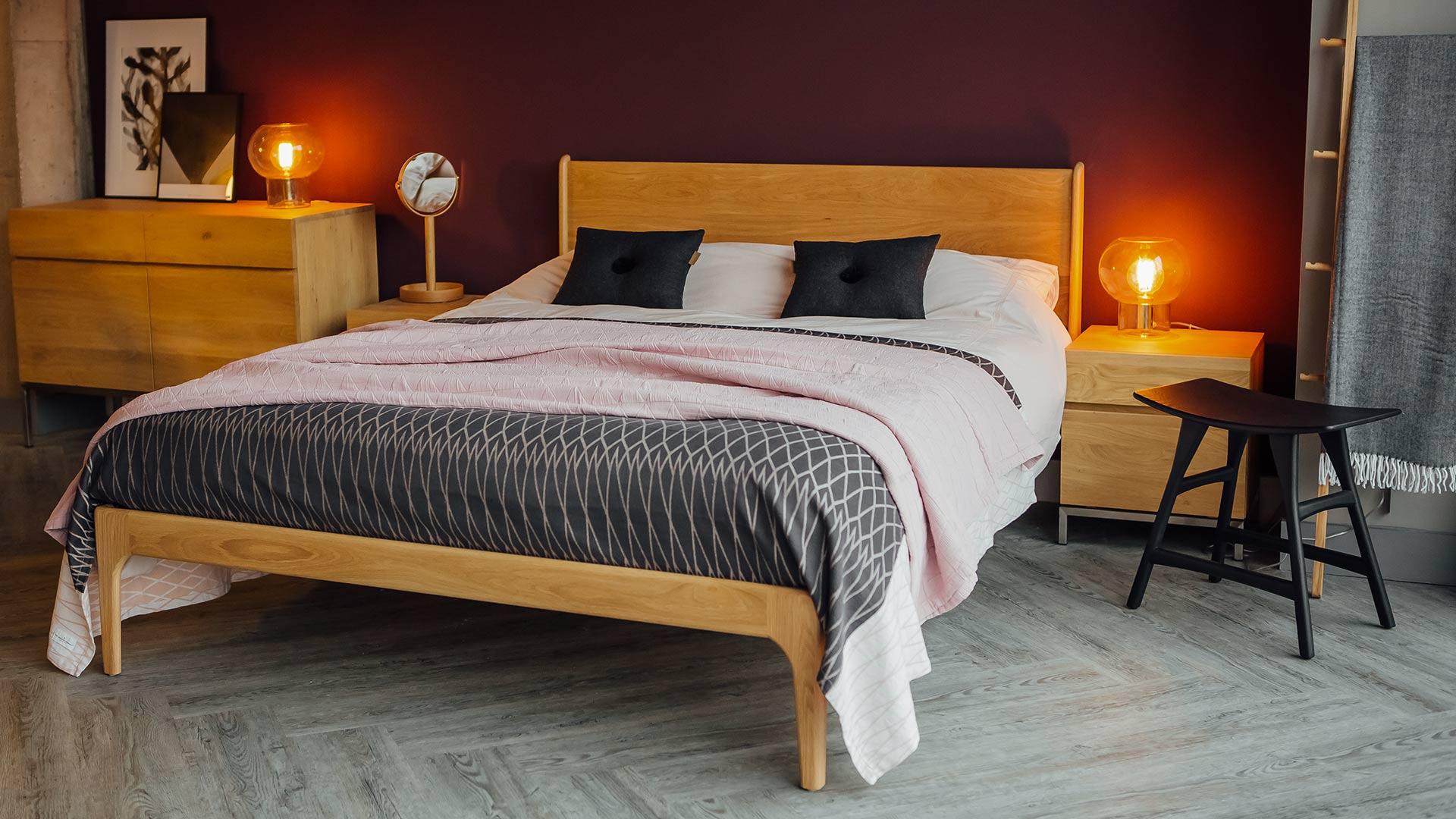 the Camden handmade wooden bed here in Oak
