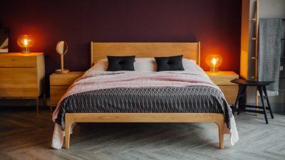 Solid wood Camden bed in warm Oak