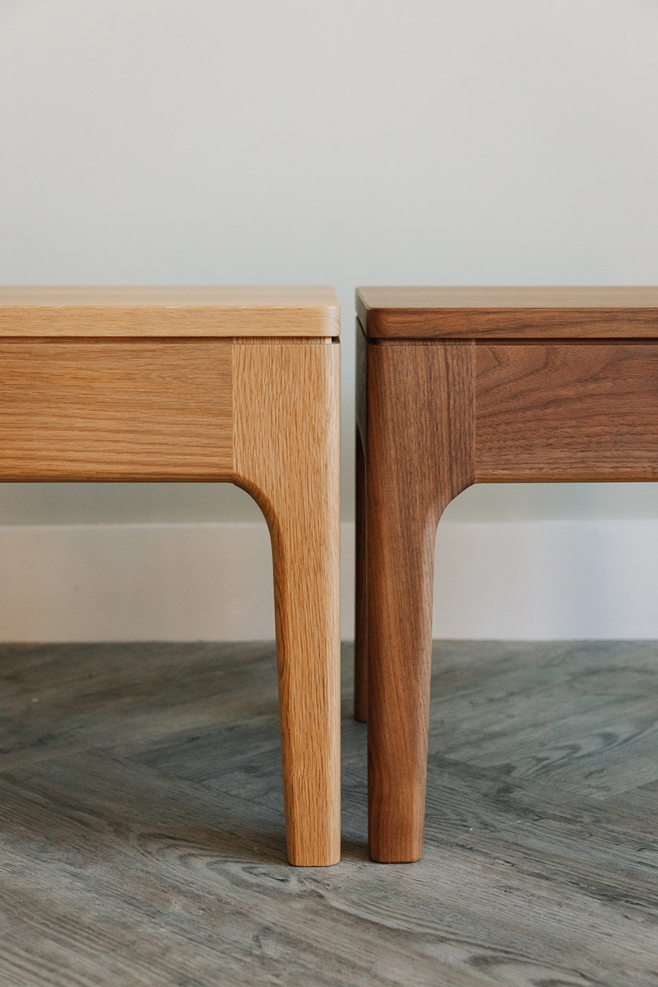 hand crafted wooden bedside tables from Natural Bed Company, available in a choice of wood