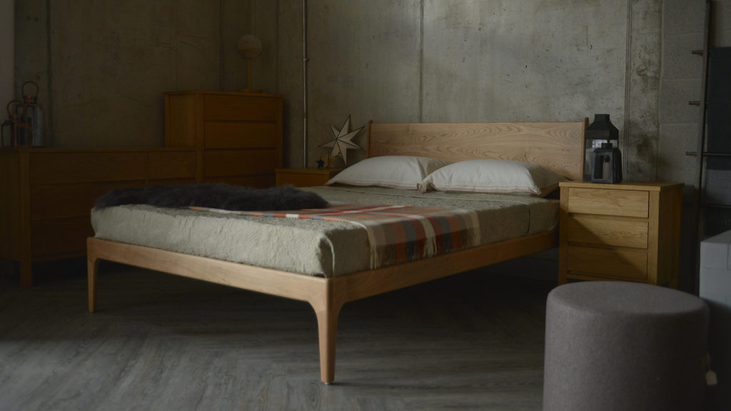 The Camden mid-century style solid wooden bed in Cherry