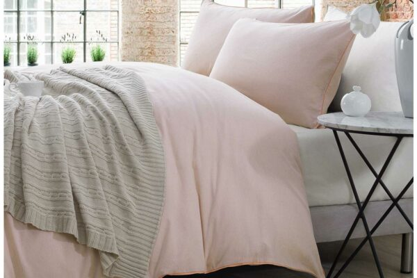 Chambray-bedding-Peach-plain-main-shot