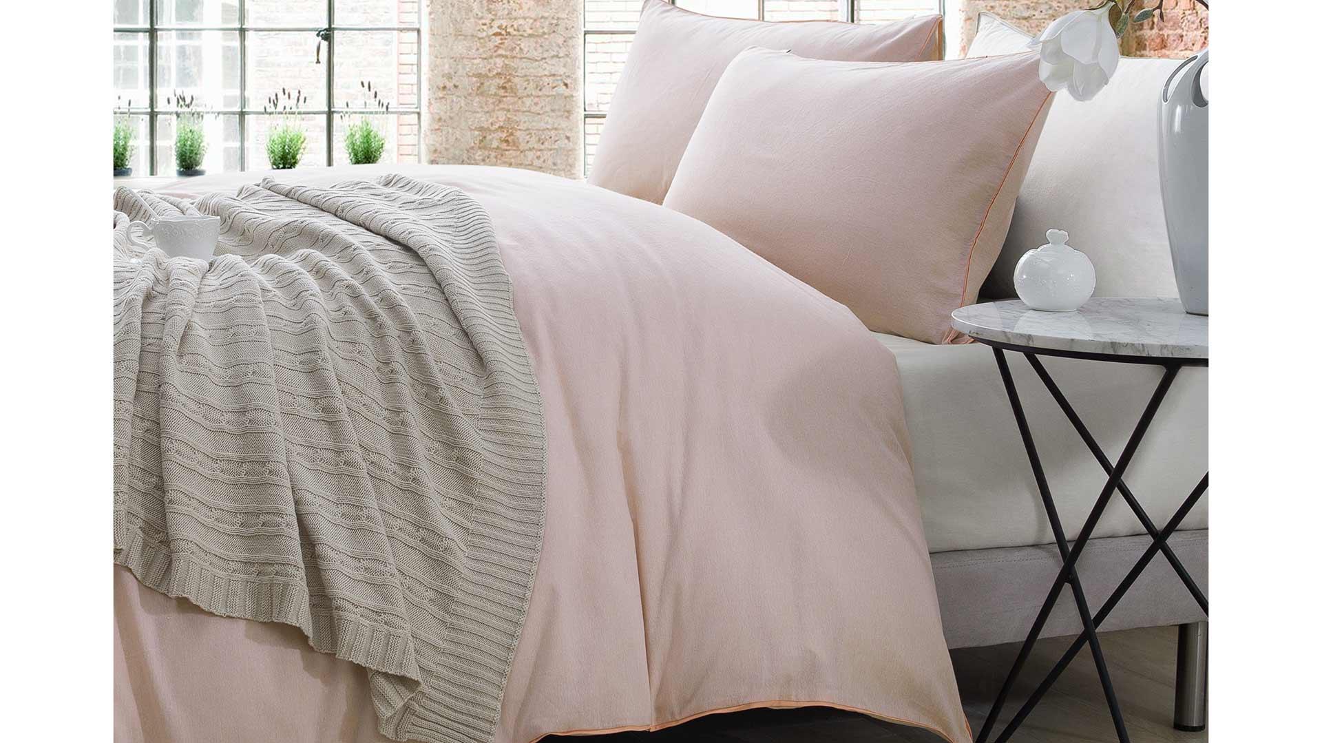 Chambray Cotton Bedding Grey Ecru Or Peach Natural Bed Company