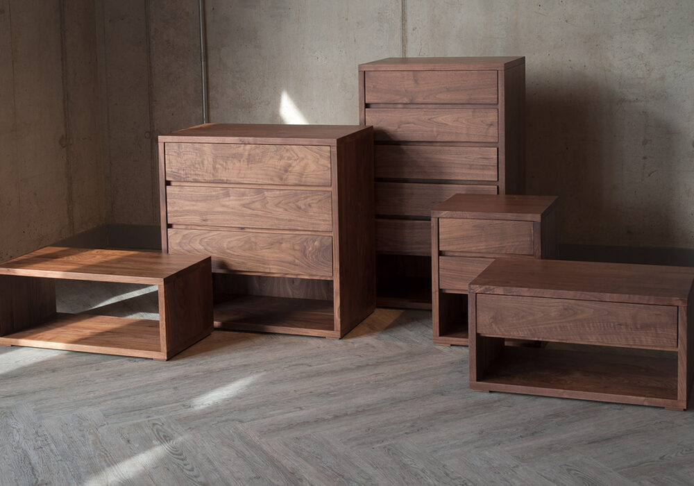 Black Lotus Cube bedroom storage collection in walnut wood