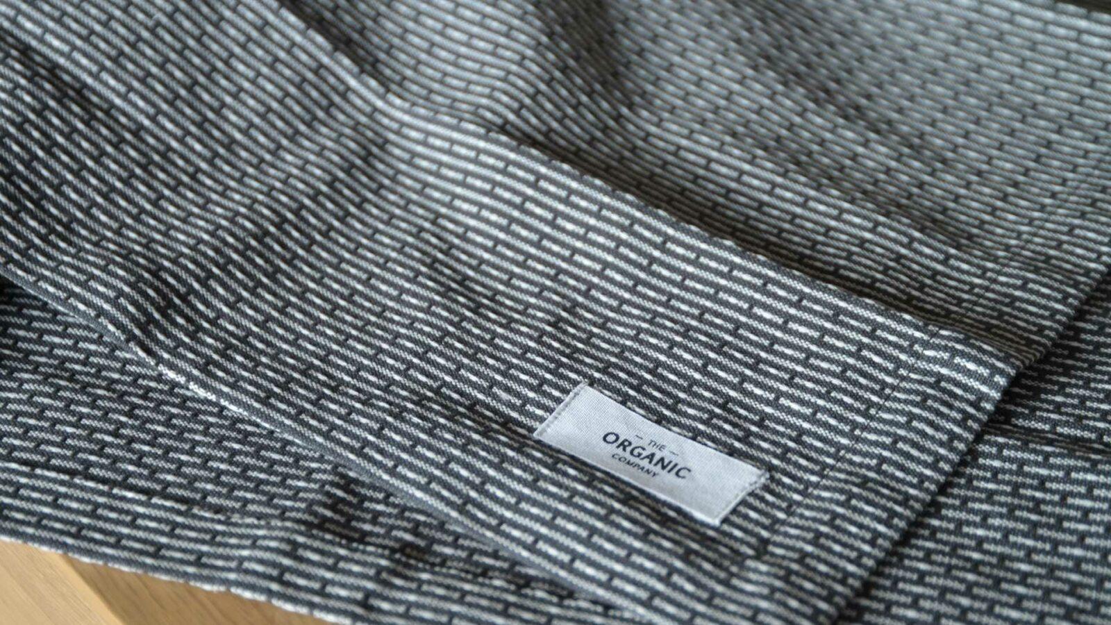 certified organic cotton towels modern monochrome weave pattern dark grey and white