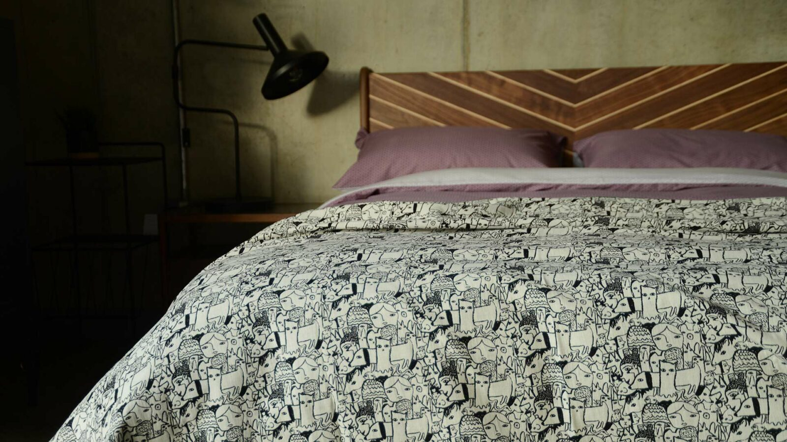 Donna Tart characters black and white bedspread