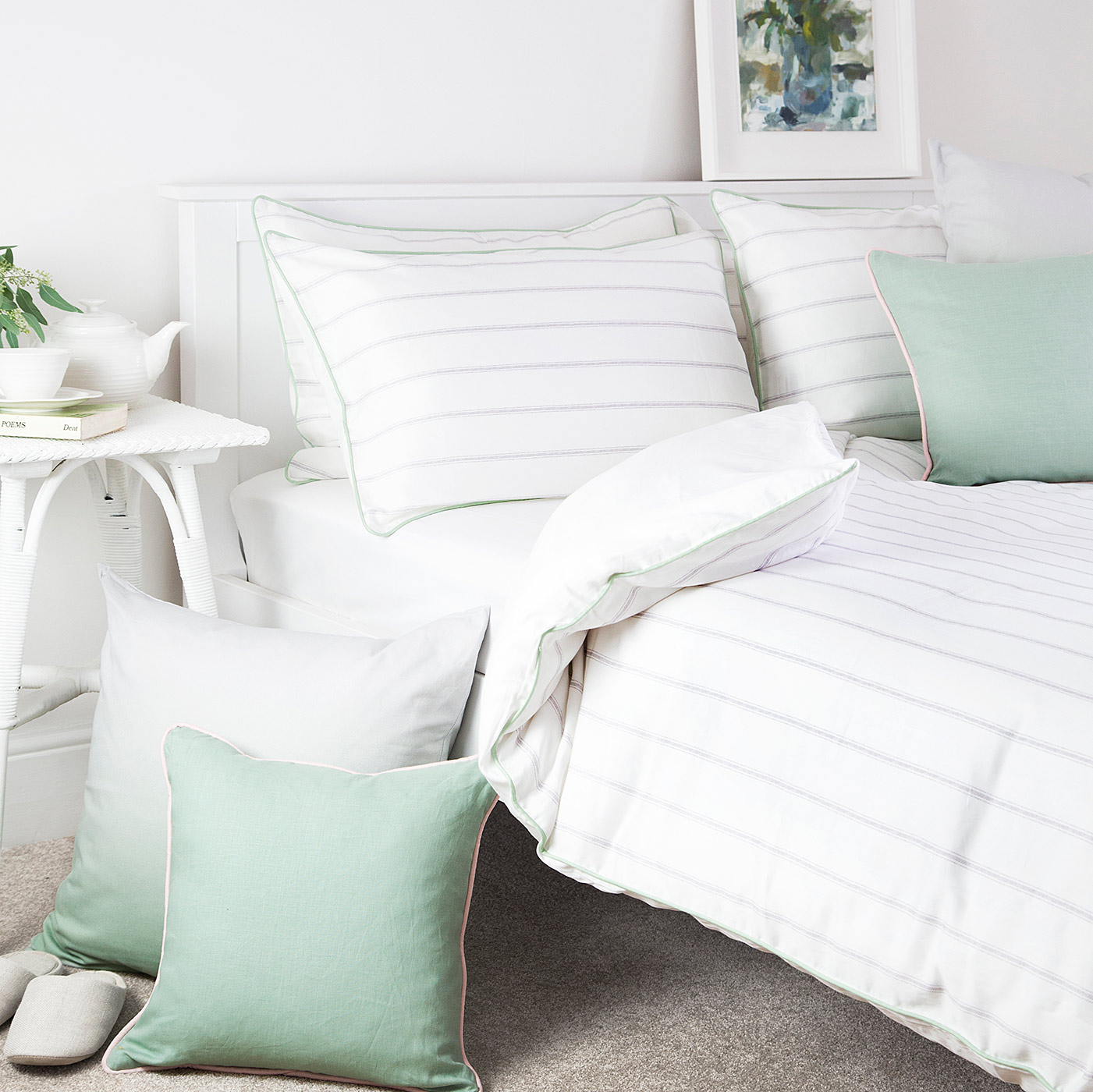 Classic Stripe Duvet Set White Grey Natural Bed Company