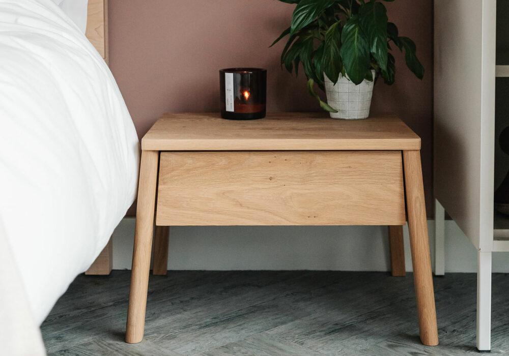 solid oak low bedside drawer table