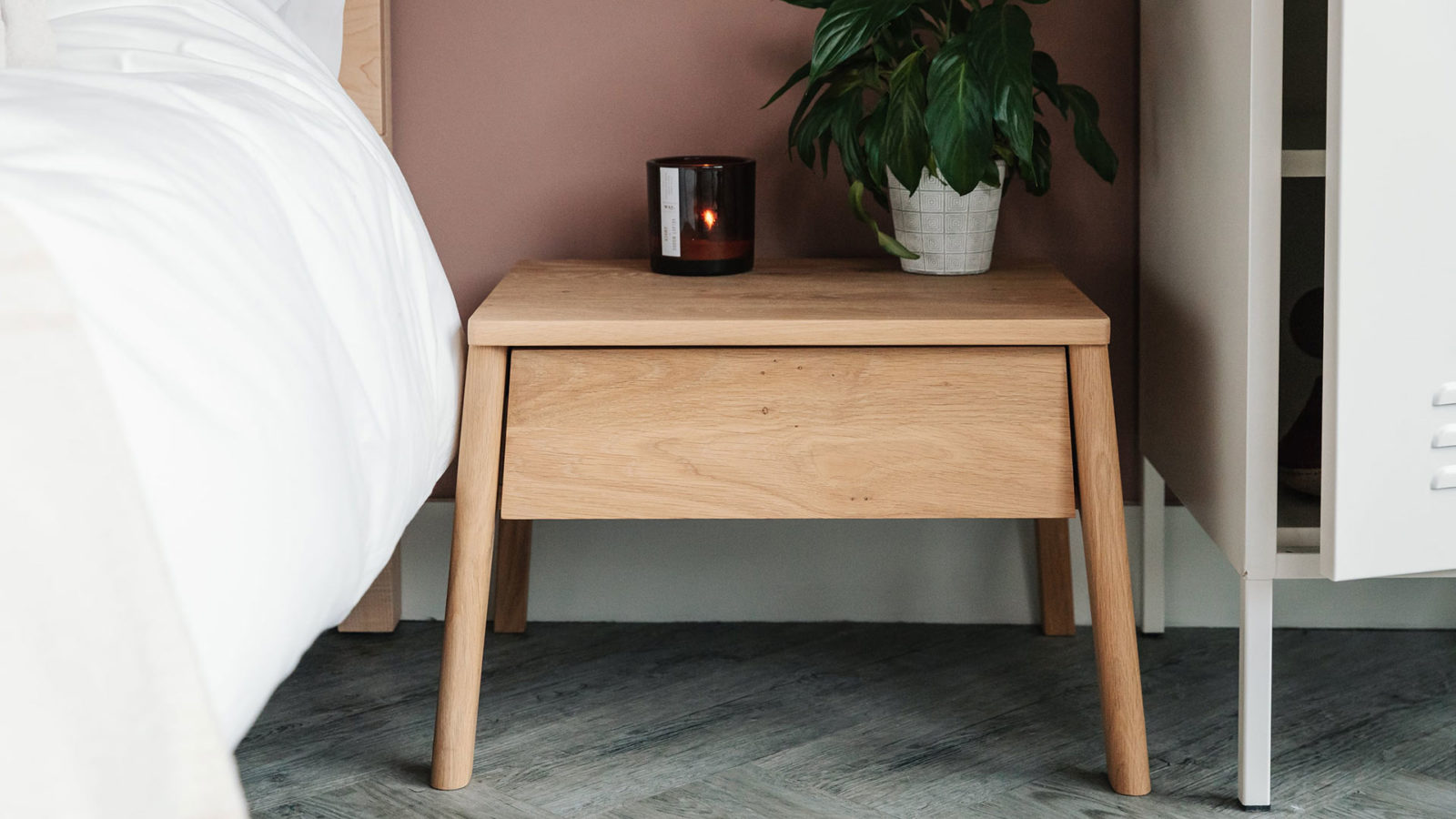 oak bedside drawer table
