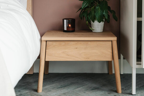 oak bedside drawer table