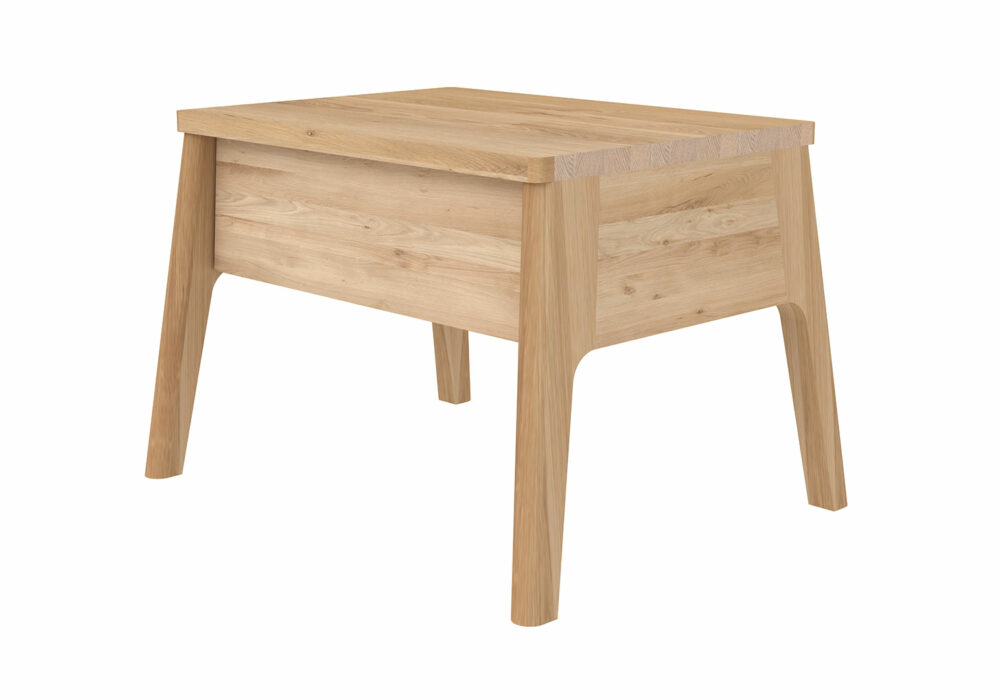 Air solid oak low bedside table with drawer