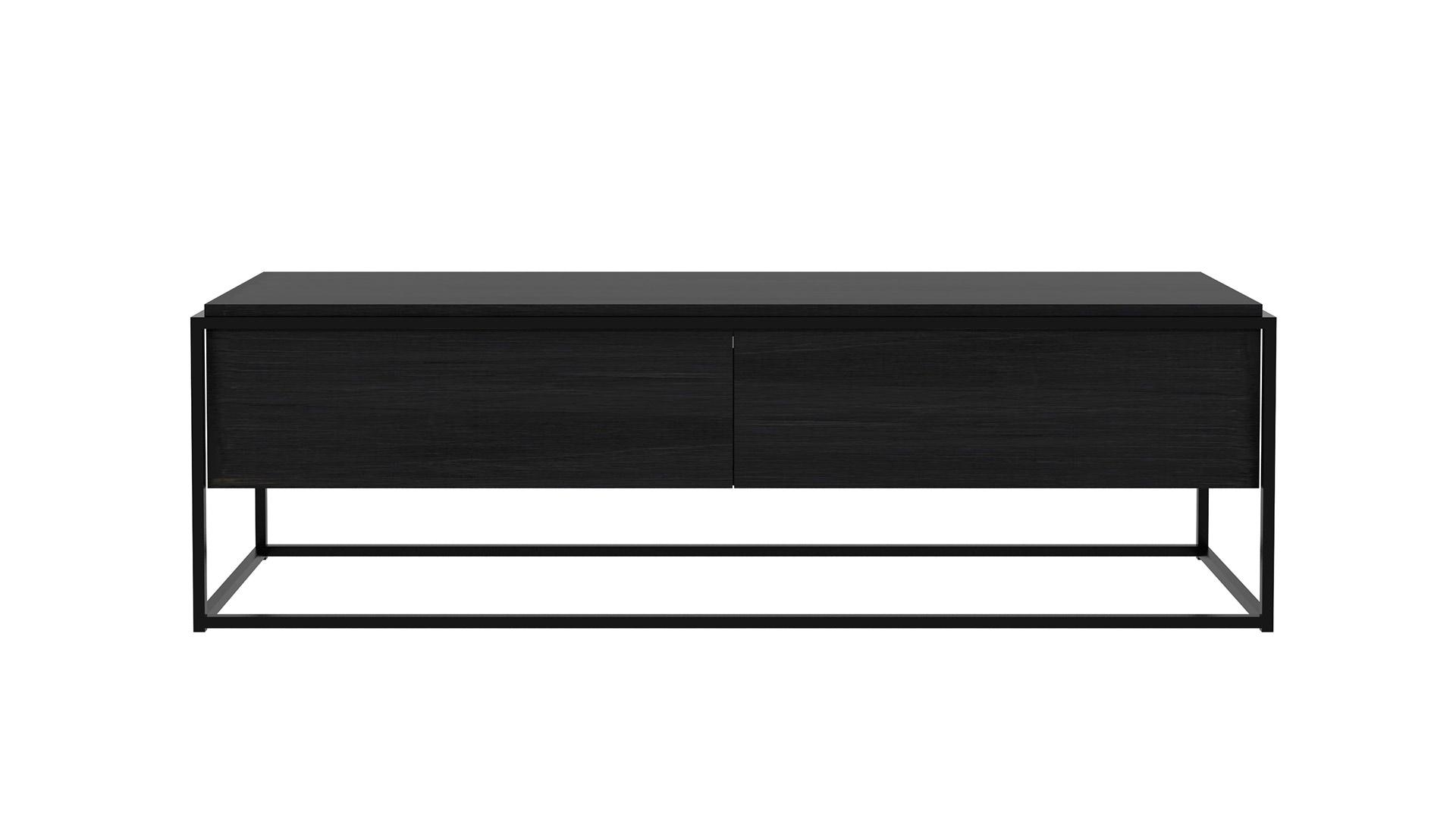 Ethnicraft-Monolit-low-cupboard-Black Oak with black frame