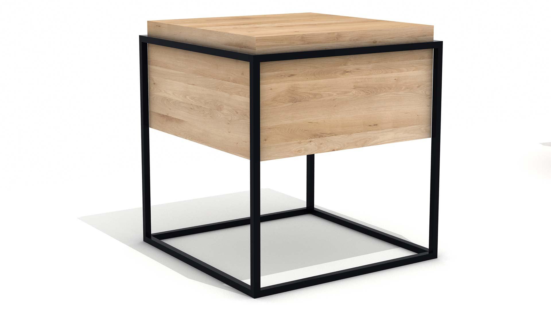 Ethnicraft-Monolit-bedside-table-M-oak-and-black-47x47x51
