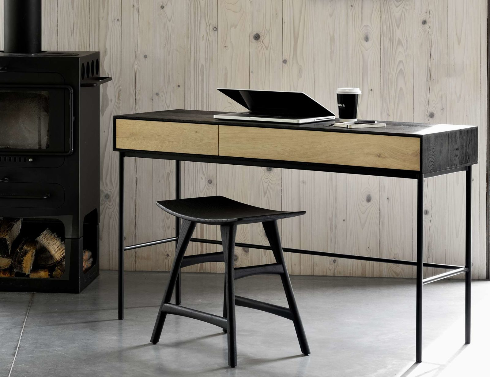 Ethnicraft-Oak-Blackbird-desk-&-black-Osso-stool