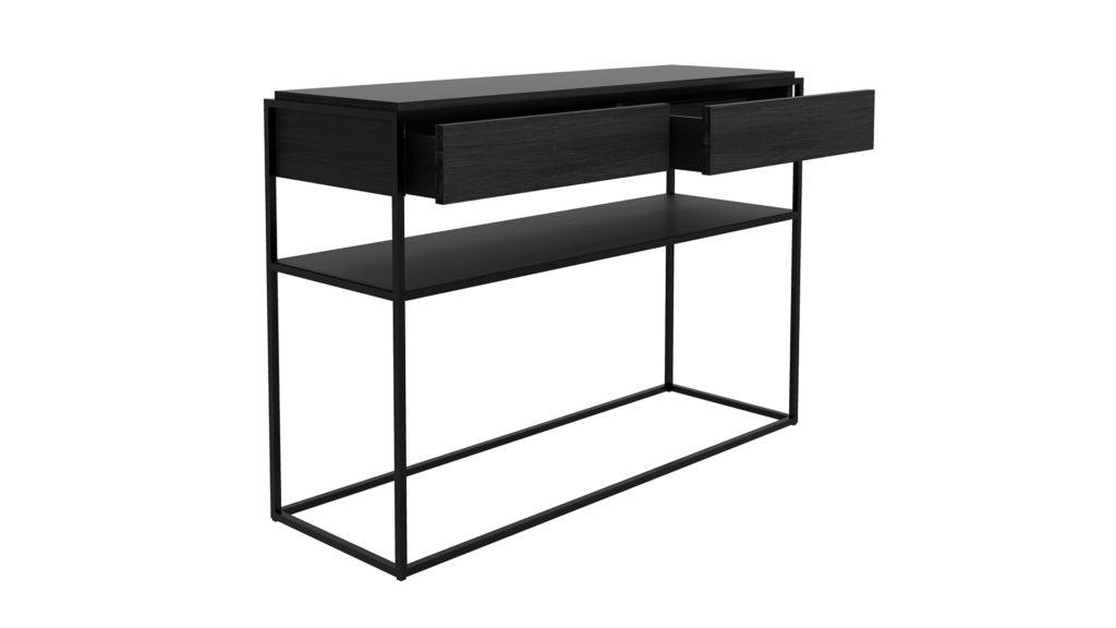 Ethnicraft-Oak-Monolit-console-2-drawers-black-black