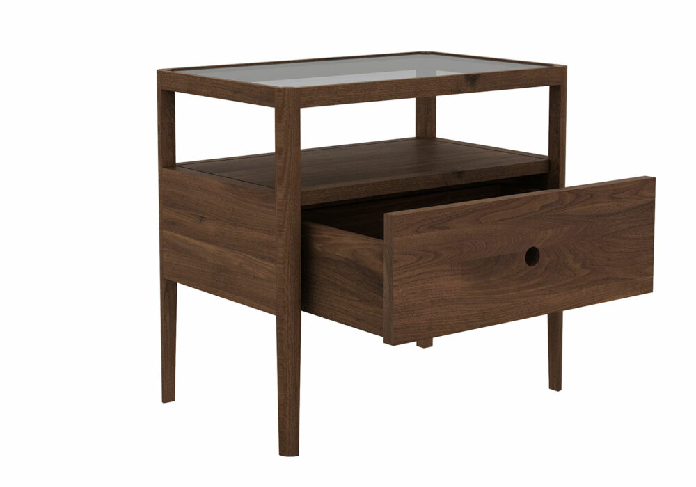walnut spindle table with draweer - open