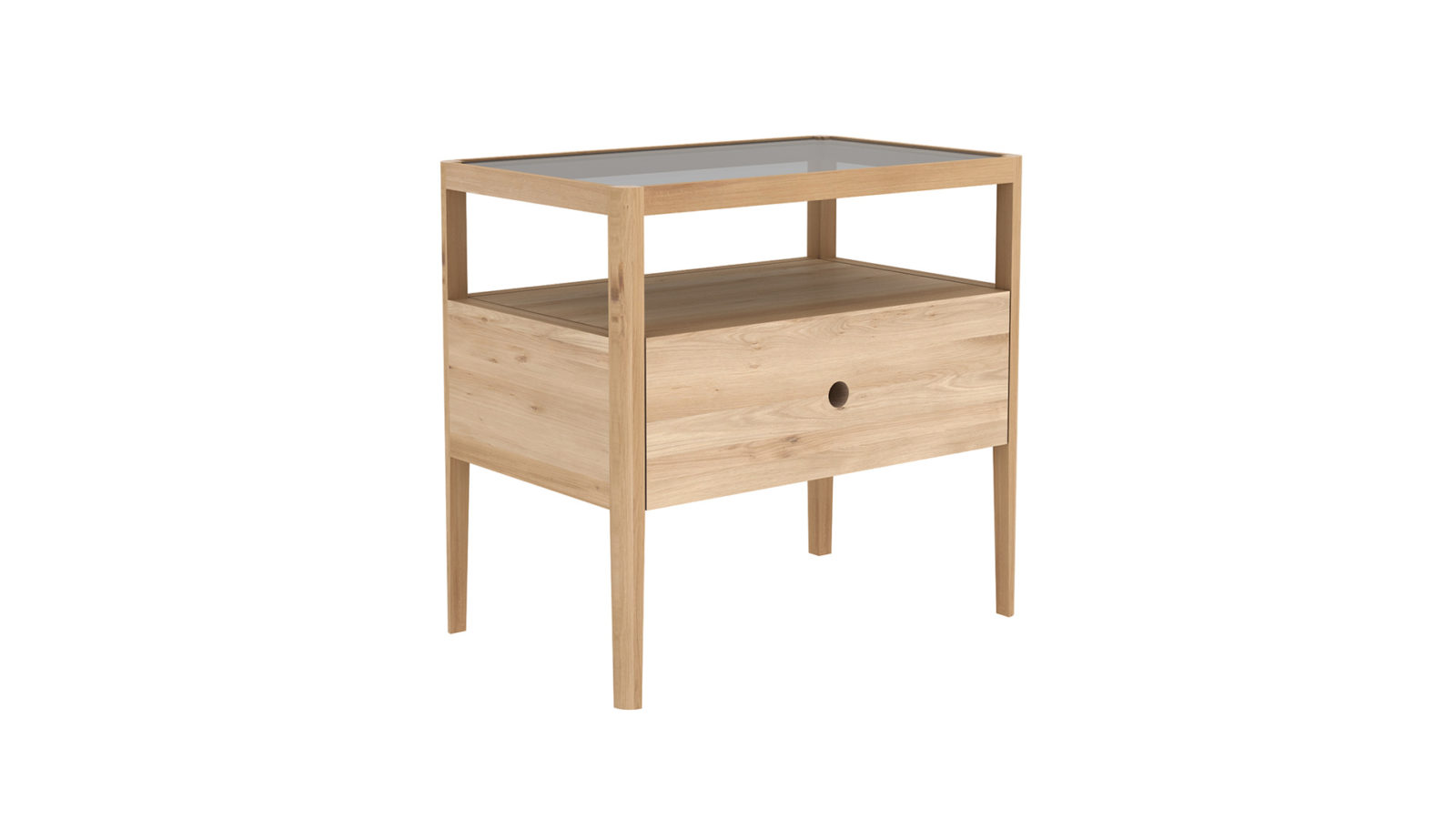 Spindle bedside table here in Oak