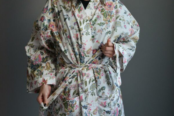 floral patterened light cotton women's robe
