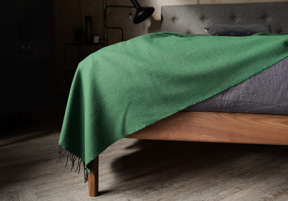 emerald green merino lambswool throw
