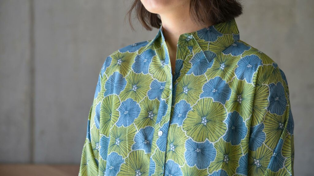 soft cotton nightshirt with a blue and green floral print