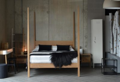 Our Hatfield Contemporary 4 poster bed hand made from solid wood, in this case Oak