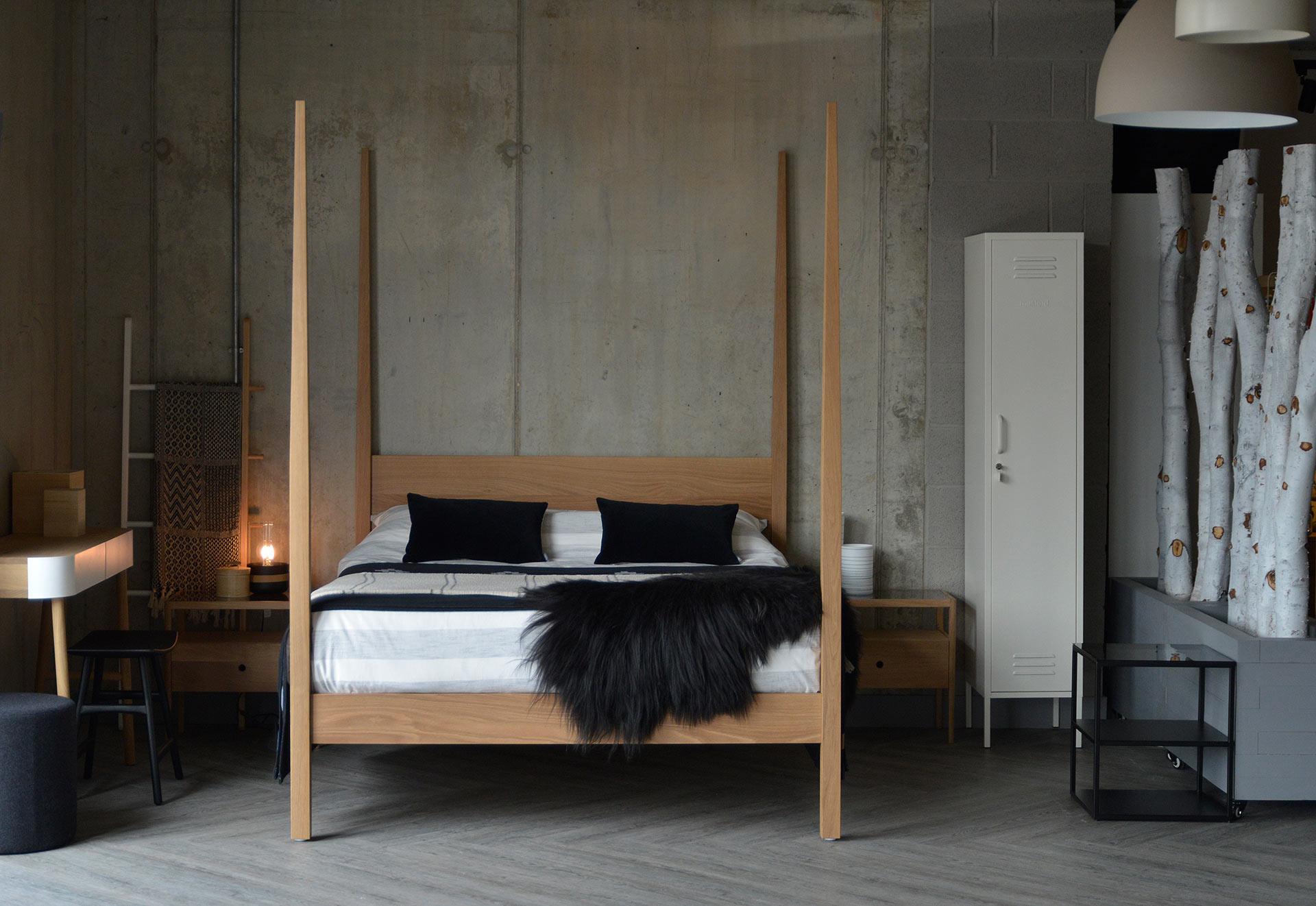 Hatfield tall post wooden bed in solid oak