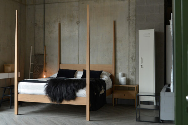 Hatfield a contemporary wooden 4 poster bed shown in solid oak