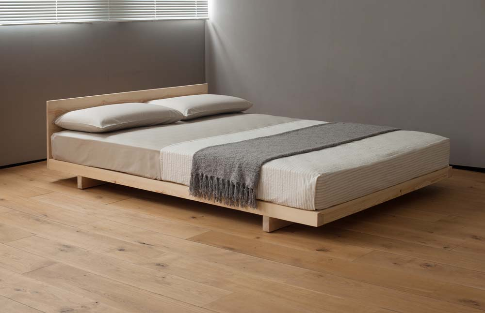 Japanese style low wooden Kobe bed in sanded pine