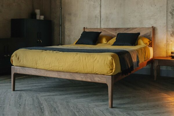 Hoxton handmade bed in solid walnut